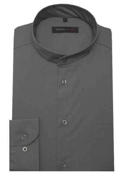 Stehkragen Hemd grau bügelleicht BP-0044 Regular Fit