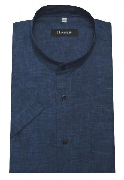 HUBER Stehkragen Kurzarm Hemd blau 100% Leinen Nachhaltige Naturfaser HU-0118 Regular