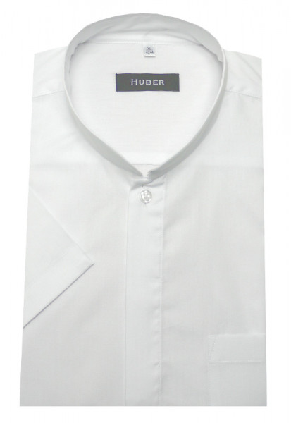 Stehkragen Hemd weiß von HUBER Kurzarm Asia-Kragen