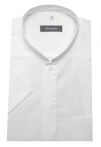 HUBER Mandarin Japan Stehkragen Kurzarm Hemd weiß HU-0591 Regular