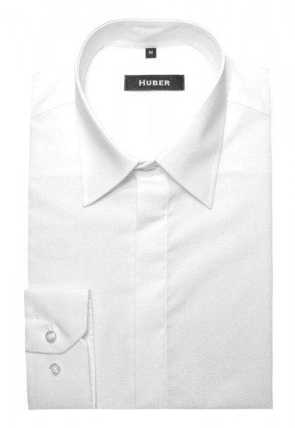 HUBER Festliches Hemd weiß verdeckte Leiste Regular Fit HU-0081