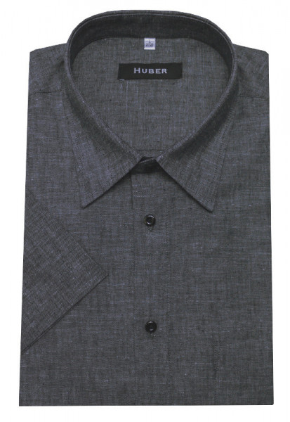 HUBER Leinen Kurzarm Hemd grau HU-90141 Regular