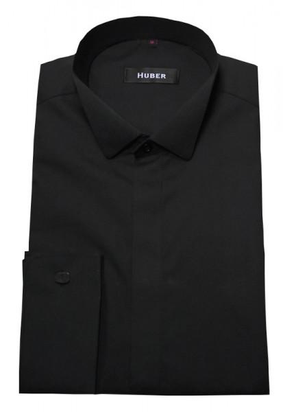 Smoking Hemd schwarz von HUBER verdeckte Knopfleiste s