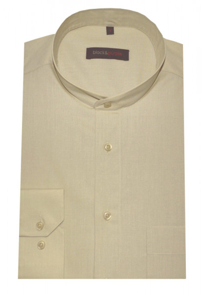 Stehkragen Hemd beige camel bügelleicht BP-0031 Regular Fit