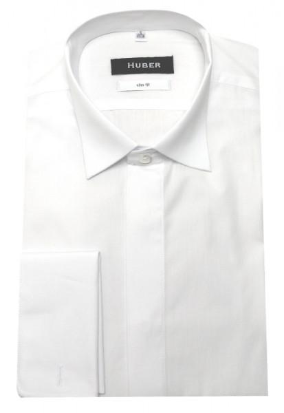 HUBER Smoking Hemd weiß HU-0351 Slim Fit