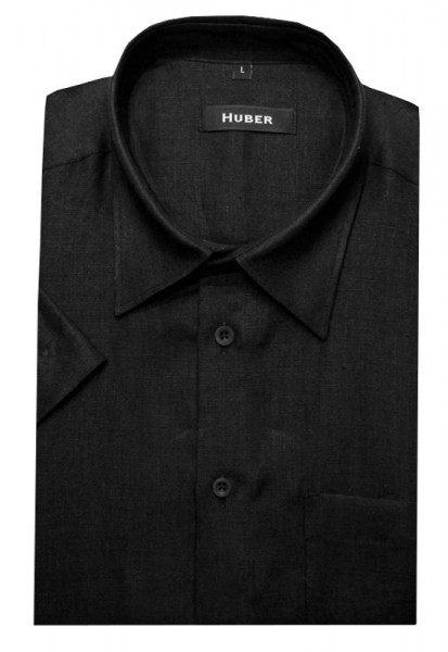 HUBER Kurzarm Hemd schwarz 100% Leinen HU-0102 Regular