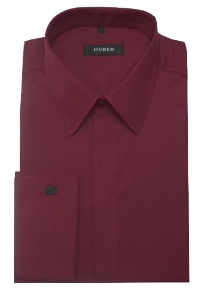 HUBER Umschlag-Manschetten Hemd rot weinrot HU-0019 Regular