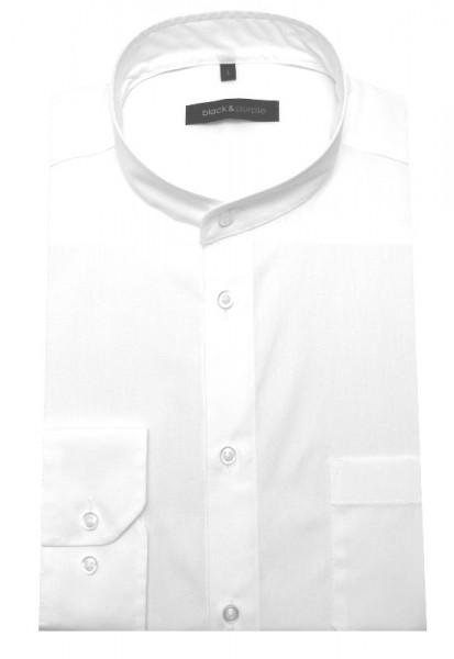 Stehkragen Hemd weiß bügelleicht BP-0039 Regular Fit